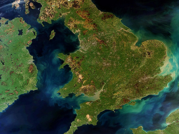 Imagen por satélite de Gran Bretaña-