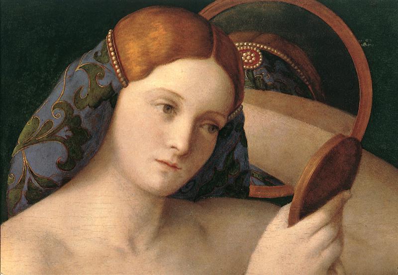 Pintura de mujer mirándose en el espejo.